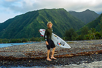 Teahupoo, Tahiti Iti, French Polynesia. Tuesday 14 August 2012. Kai Otten (AUS) after a surf.  The swell had backed off today to around 2' and an onshore NW wind made Teahupoo virtually unsurfable. Photo: joliphotos.com