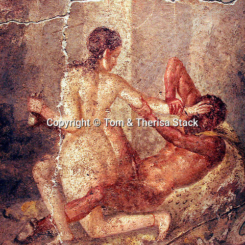 Satiro, erotic art painting, Pompeii, Italy