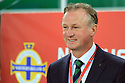 Northern Ireland's  manager Michael O'Neill looks on as his  team  clashes with Germany's during the FIFA World Cup 2018 Qualifying Group C qualifying soccer match between Northern Ireland and Germany at the National Football Stadium at Windsor Park, Belfast, Northern Ireland, 5 Oct 2017. Photo/Paul McErlane