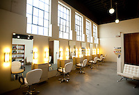 Co-owners of Halo Salon, Lauren Bryant (cq) and Henry Uldall (cq), in their new studio in Dallas, Texas, Monday, Oct., 12, 2009. The salon rents out chairs to stylists from throughout the Dallas area...MATT NAGER/ SPECIAL CONTRIBUTOR