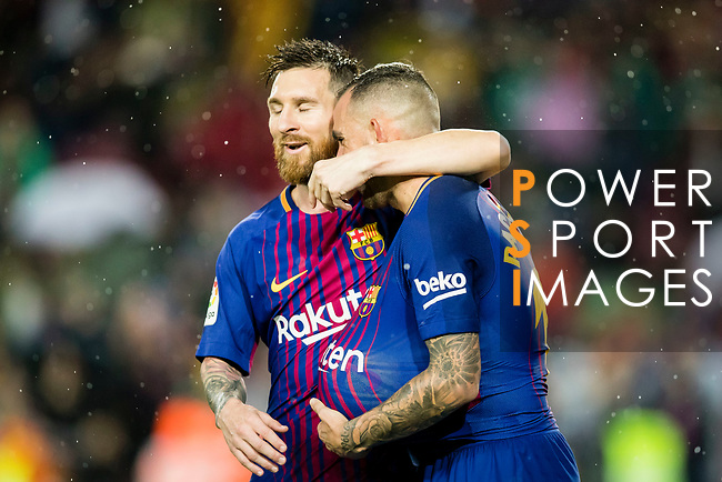 Francisco Alcacer Garcia, Paco Alcacer, of FC Barcelona (R) celebrates after scoring his goal with Lionel Andres Messi of FC Barcelona during the La Liga 2017-18 match between FC Barcelona and Sevilla FC at Camp Nou on November 04 2017 in Barcelona, Spain. Photo by Vicens Gimenez / Power Sport Images