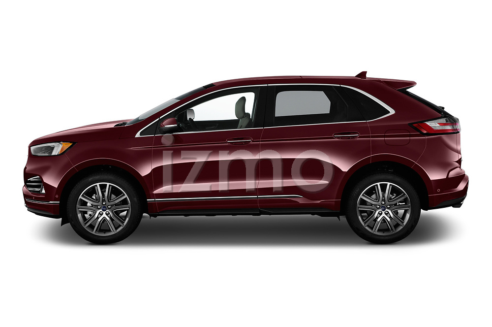 Car driver side profile view of a 2019 Ford Edge Titanium 5 Door SUV