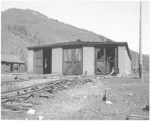 South-end view of the RGS Rico engine house as seen during abandonment.<br /> RGS  Rico, CO  Taken by Chione, A. G. - 1952