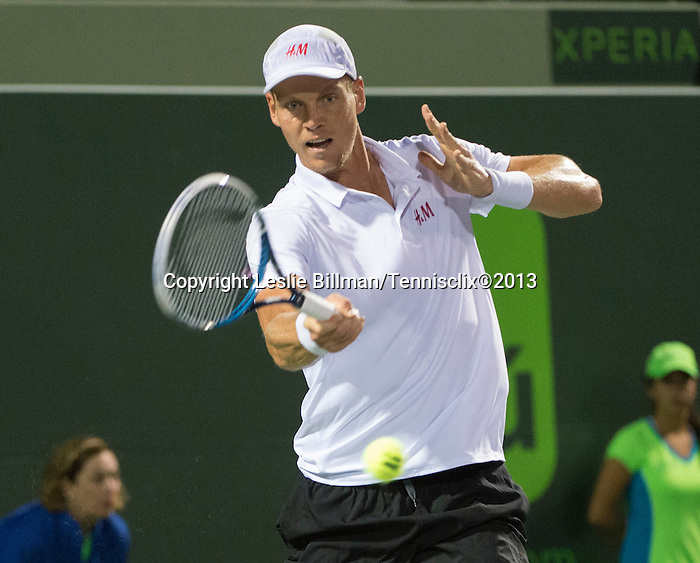 Tomas Berdych (CZE) loses to Richard Gasquet, 6-3, 6-3, at the Sony Open being played at Tennis Center at Crandon Park in Miami, Key Biscayne, Florida on March 28, 2013