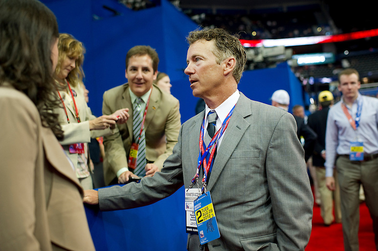 UNITED STATES - AUGUST 27: Sen. Rand Paul, R-Ky., works the floor at the 2012 Republican National Convention at the Tampa Bay Times Forum. (Photo By Chris Maddaloni/CQ Roll Call)