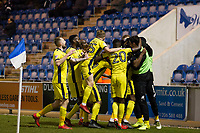 The Cheltenham players celebrate the second goal during Colchester United vs Cheltenham Town, Sky Bet EFL League 2 Football at the Weston Homes Community Stadium on 6th January 2018