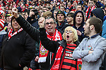 LONDON, ENGLAND - MARCH 29: Wrexham fans sing their National Anthem before the FA Carlsberg Trophy Final 2015 at Wembley Stadium on March 29, 2054 in London, England. (Photo by Dacid Horn/EAP)