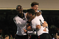 Fulham's Emerson Hyndman celebrates his goal with Moussa Dembele and captain, Liam Donnelly
