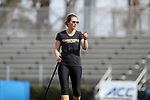 DURHAM, NC - FEBRUARY 16: Campbell head coach Dawn Easley. The Duke University Blue Devils hosted the Campbell University Camels on February 16, 2018, at Koskinen Stadium in Durham, NC in women's college lacrosse match. Duke won the game 18-8.