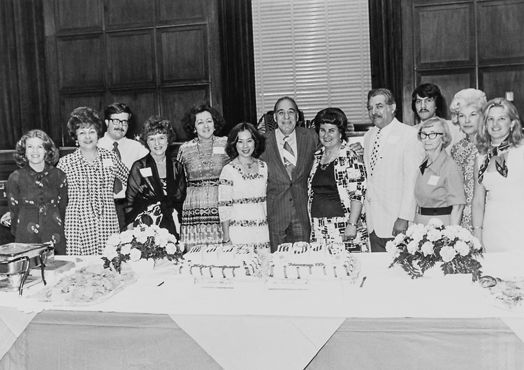 Rep. Henry B. Gonzalez, D-Tex. celebrating with members in 1986. (Photo by Dev O'Neill/CQ Roll Call)