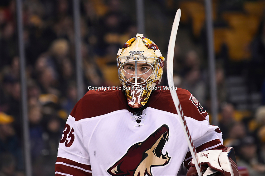 February 28, 2015 - Boston, Massachusetts, U.S. -  Arizona Coyotes goalie Louis Domingue (35) wait for action to resume during the NHL match between the Arizona Coyotes and the Boston Bruins held at TD Garden in Boston Massachusetts. The Bruins defeated the Coyotes 4-1 in regulation time. Eric Canha/CSM