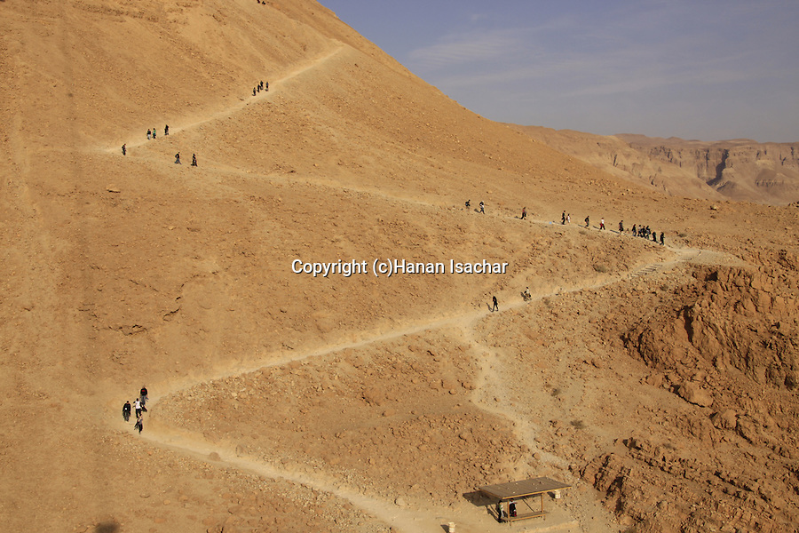 Israel, Judean desert, the Snake Path at the eastern side of Masada