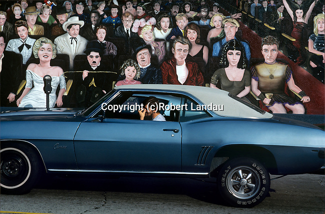 Movie Star Mural with Car, Hollywood, 1984