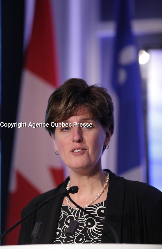 Marie-Claude Bibeau, <br /> Minister, Ministere du Developpement international et de la Francophonie, Canada attend the 22nd edition of the Conference of Montreal, held June 13 to 15, 2016<br /> <br /> PHOTO : Pierre Roussel -  Agence Quebec Presse