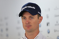 Justin Rose (ENG) talks to the media during Wednesday's Pro-Am Day of the 2014 BMW Masters held at Lake Malaren, Shanghai, China 29th October 2014.<br /> Picture: Eoin Clarke www.golffile.ie