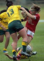 Sarah Riordan tackles Karen Paquin during the 2017 International Women's Rugby Series rugby match between Canada and Australia Wallaroos at Smallbone Park in Rotorua, New Zealand on Saturday, 17 June 2017. Photo: Dave Lintott / lintottphoto.co.nz