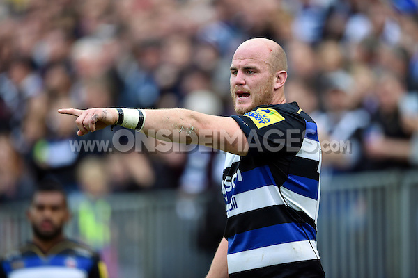 Matt Garvey of Bath Rugby. Aviva Premiership match, between Bath Rugby and Exeter Chiefs on October 17, 2015 at the Recreation Ground in Bath, England. Photo by: Patrick Khachfe / Onside Images