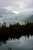 GLACIERS<br /> Mendenhall Glacier - Juneau, Alaska<br /> Low lying Stratus clouds and view of Mendenhall Lake. Three states of matter are shown by lake, glacier and the vapour of the cloud.