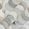 Demi Lune, a waterjet mosaic shown in honed Angora, is part of the Illusions® collection by New Ravenna.