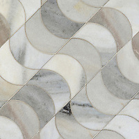 Demi Lune, a waterjet mosaic shown in honed Angora, is part of the Illusions™ Collection by Sara Baldwin Designs for New Ravenna.