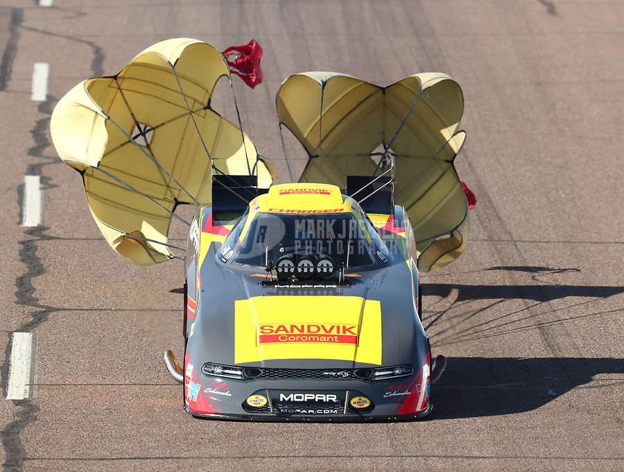 Feb 23, 2019; Chandler, AZ, USA; NHRA funny car driver Matt Hagan during qualifying for the Arizona Nationals at Wild Horse Pass Motorsports Park. Mandatory Credit: Mark J. Rebilas-USA TODAY Sports