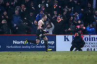 James Collins of Luton Town scores the first goal for his team and celebrates during Stevenage vs Luton Town, Sky Bet EFL League 2 Football at the Lamex Stadium on 10th February 2018