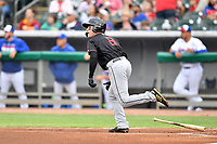 Birmingham Barons right fielder Luis Gonzalez (8) runs to first base during a game against the Tennessee Smokies at Smokies Stadium on May 15, 2019 in Kodak, Tennessee. The Smokies defeated the Barons 7-3. (Tony Farlow/Four Seam Images)