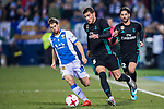 Theo Hernandez (C) of Real Madrid battles for the ball with Darko Brasanac of CD Leganes during the Copa del Rey 2017-18 match between CD Leganes and Real Madrid at Estadio Municipal Butarque on 18 January 2018 in Leganes, Spain. Photo by Diego Gonzalez / Power Sport Images