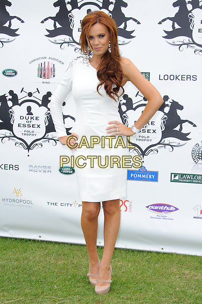Maria Fowler.The Duke of Essex Polo Trophy at Gaynes Park, Epping, England, UK, .July 9th 2011..full length white dress one sleeve hands on hips beige shoes  towie.CAP/CJ.©Chris Joseph/Capital Pictures.