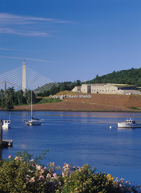 View of Ft. Knox State Park and the Penobscot Narrows Bridge from Bucksport, Maine, USA
