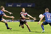 Timm Nanai-Williams draws two defenders as he gets the ball away to an unmarked Orbyn Leger. Mitre 10 Cup game between Counties Manukau Steelers and Tasman Mako's, played at ECOLight Stadium Pukekohe on Saturday October 14th 2017. Counties Manukau won the game 52 - 30 after trailing 22 - 19 at halftime. <br /> Photo by Richard Spranger.