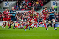 Saturday 10 May 2014<br /> Pictured: Rhodri Williams of the Scarlets crosses the line for the first try of the game<br /> Re: Scarlets v Blues Rabo Direct Pro 12 Rugby Union Match at Parc y Scarlets, Llanelli, Wales