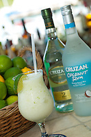 """""""A Lime in a Coconut"""".rum drink with lime rind ground into it.Joe's Rum Hut, Cruz Bay, St John US Virgin Islands"""
