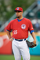 Buffalo Bisons pitcher Rhiner Cruz (55) during a game against the Lehigh Valley IronPigs on June 23, 2018 at Coca-Cola Field in Buffalo, New York.  Lehigh Valley defeated Buffalo 4-1.  (Mike Janes/Four Seam Images)
