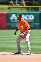 Tony Kemp (6) of the Fresno Grizzlies on defense against the Salt Lake Bees in Pacific Coast League action at Smith's Ballpark on June 14, 2015 in Salt Lake City, Utah.  (Stephen Smith/Four Seam Images)