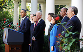 United States President Barack Obama flanked by U.S. Vice President Joe Biden and members of his economic team, speaks to the press on the economy in the Rose Garden of the White House in Washington D.C  Wednesday, September 15 2010..Credit: Olivier Douliery / Pool via CNP