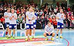 Eskilstuna 2014-10-03 Handboll Elitserien Eskilstuna Guif - Alings&aring;s HK :  <br /> Sk&ouml;vdes Linus Lake , Robin W&auml;rn , Joel J&auml;rlfors och Adam Samuelsson deppar efter matchen och f&ouml;rlusten mot Eskilstuna Guif <br /> (Foto: Kenta J&ouml;nsson) Nyckelord:  Eskilstuna Guif Sporthallen IFK Sk&ouml;vde HK depp besviken besvikelse sorg ledsen deppig nedst&auml;md uppgiven sad disappointment disappointed dejected