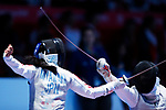 (L to R) <br />  Karin Miyawaki (JPN), <br /> Do Thi Anh (VIE), <br /> AUGUST 20, 2018 - Fencing : <br /> Women's Individual Foil  Round of 16 <br /> at Jakarta Convention Center Cendrawasih <br /> during the 2018 Jakarta Palembang Asian Games <br /> in Jakarta, Indonesia. <br /> (Photo by Naoki Morita/AFLO SPORT)