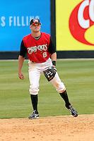 Zach Cozart of the Carolina Mudcats fieldingversus the Huntsville Stars on April 22, 2009 at Five County Stadium in Zebulon, NC