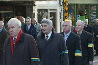 Tim Kennelly Funeral 10-12-05<br />Jimmy Deenihan, Mick O'Dwyer, Paidi O'Se and Charlie Nelligan pictured at the funeral of former Kerry footballer Tim Kennelly in Listowel on Satruday.<br />Picture by Don MacMonagle