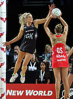 27.08.2016 Silver Ferns Jane Watson in action during the Netball Quad Series match between teh Silver Ferns and England at Vector Arena in Auckland. Mandatory Photo Credit ©Michael Bradley.