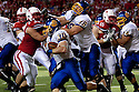 25 September, 2010: South Dakota State running back Kyle Minett #30 running around the end against Nebraska at Memorial Stadium in Lincoln, Nebraska. Nebraska defeated South Dakota State 17 to 3.