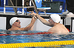 November 13 2011 - Guadalajara, Mexico: Adam Rahier and Maxime Rouselle congratulate each other after winning Silver and Bronze respectively at the 2011 Parapan American Games in Guadalajara, Mexico.  Photos: Matthew Murnaghan/Canadian Paralympic Committee