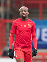 Yannis N'Gakoutou-Yapende of AS Monaco FC Youth pre match during the UEFA Youth League round of 16 match between Tottenham Hotspur U19 and Monaco at Lamex Stadium, Stevenage, England on 21 February 2018. Photo by Andy Rowland.