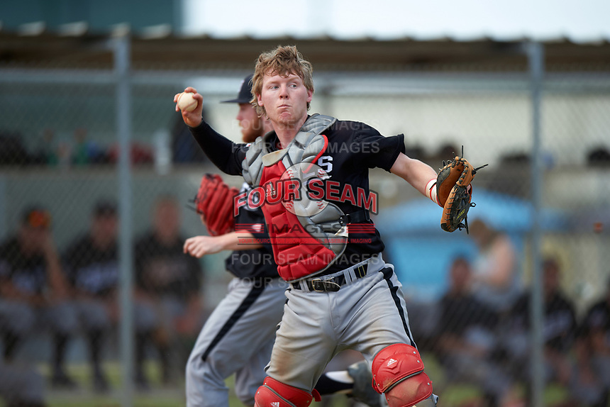Edgewood Eagles Casey Seelow (35) during the second game of a doubleheader against the Plymouth State Panthers on April 17, 2016 at Lee County Player Development Complex in Fort Myers, Florida.  Plymouth State defeated Edgewood 16-3.  (Mike Janes/Four Seam Images)