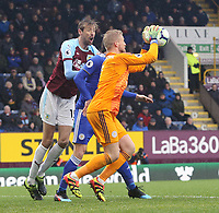 Leicester City's Kasper Schmeichel gathers under pressure from Burnley's Peter Crouch<br /> <br /> Photographer Rich Linley/CameraSport<br /> <br /> The Premier League - Burnley v Leicester City - Saturday 16th March 2019 - Turf Moor - Burnley<br /> <br /> World Copyright © 2019 CameraSport. All rights reserved. 43 Linden Ave. Countesthorpe. Leicester. England. LE8 5PG - Tel: +44 (0) 116 277 4147 - admin@camerasport.com - www.camerasport.com