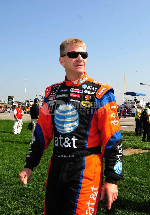 Sept. 28, 2008; Kansas City, KS, USA; Nascar Sprint Cup Series driver Jeff Burton prior to the Camping World RV 400 at Kansas Speedway. Mandatory Credit: Mark J. Rebilas-