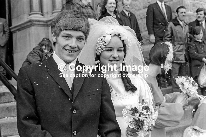 Republican internee Sean McClenaghan, 19 years, and his bride, Sadie McCauley, 17 years, after their wedding at Holy Cross Chapel, Ardoyne, Belfast, N Ireland, on 8th April 1972. Mr McClenaghan was given 24 hours parole for wedding and honeymoon! 197204080177a..Copyright Image from Victor Patterson, 54 Dorchester Park, Belfast, United Kingdom, UK...For my Terms and Conditions of Use go to http://www.victorpatterson.com/Victor_Patterson/Terms_%26_Conditions.html