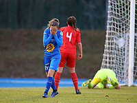 20191221 - WOLUWE: Gent's Nelle Van Parijs (18) disappointed after her failed attempt on goal during the Belgian Women's National Division 1 match between FC Femina WS Woluwe A and KAA Gent B on 21st December 2019 at State Fallon, Woluwe, Belgium. PHOTO: SPORTPIX.BE | SEVIL OKTEM