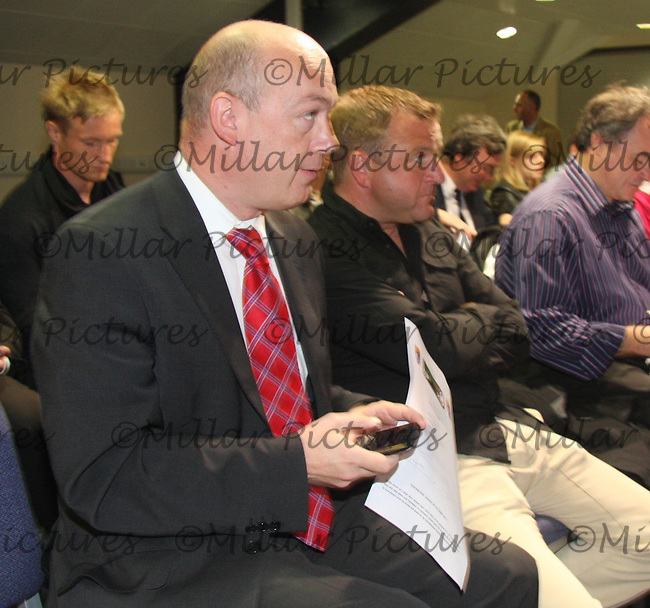 Hamilton Accies Secretary Scot Struthers (left) with Billy Reid the manager watching their side being drawn at home to Livingston at the Ramsdens Cup Semi Final Draw at Hampden Park, Glasgow on 7.9.11